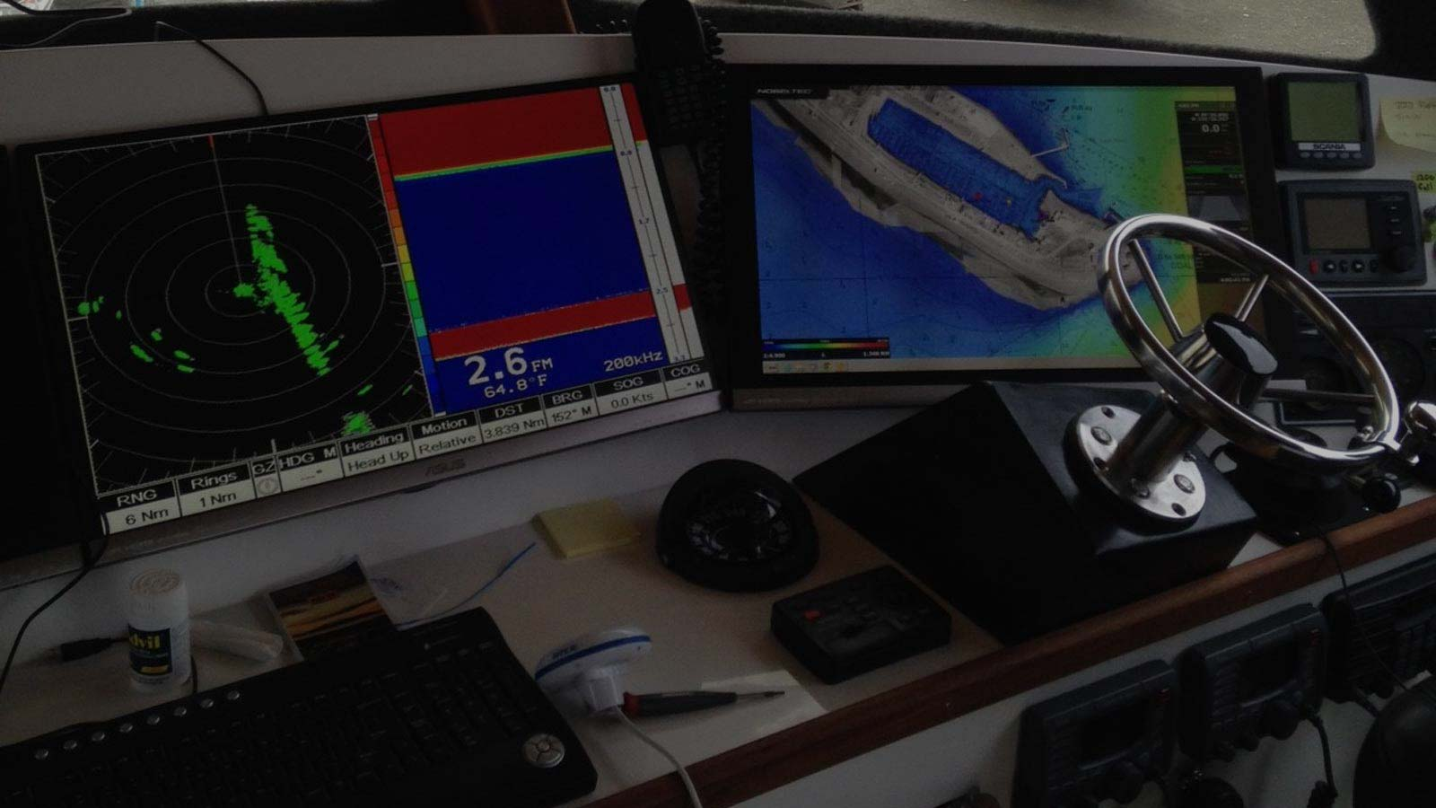 Several radar systems are shown installed in a commercial fishing boat from South Central Radar in Homer, Alaska